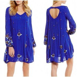 Free People Oxford Embroidered Swing Dress Blue XS